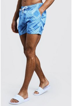 Blue Bandana Print Mid Length Swim Short