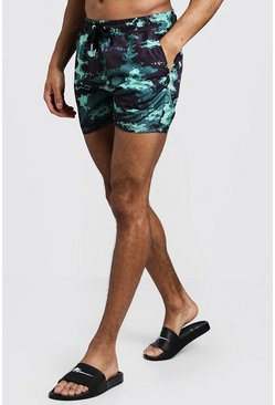 Mens Digital Camo Print Mid Length Swim Short