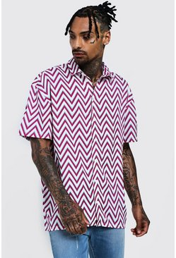 Mens Pink Chevron Print Oversized Short Sleeve Shirt