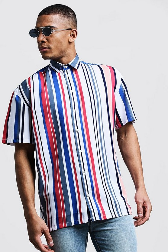 White Vertical Stripe Oversized Short Sleeve Shirt
