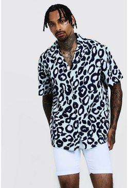 Mens Mint Leopard Print Oversized Short Sleeve Revere Shirt