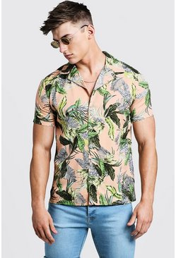 Mens Pink Palm Print Short Sleeve Revere Shirt