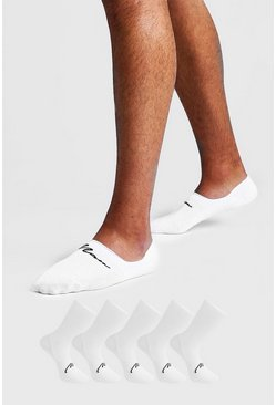 White MAN Signature 5 Pack Invisible Socks
