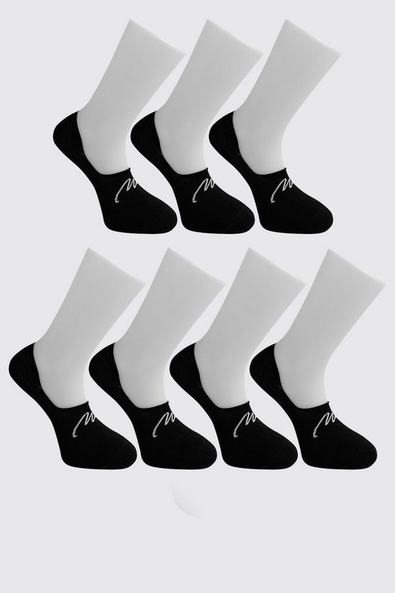 Pack de 7 pares de calcetines invisibles exclusivos MAN, Negro, HOMBRE