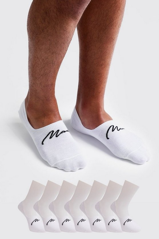 Mens White MAN Signature 7 Pack Invisible Socks