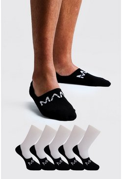 Mens Black MAN Dash 5 Pack Invisible Socks