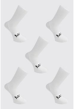 Mens White MAN Dash 5 Pack Invisible Socks