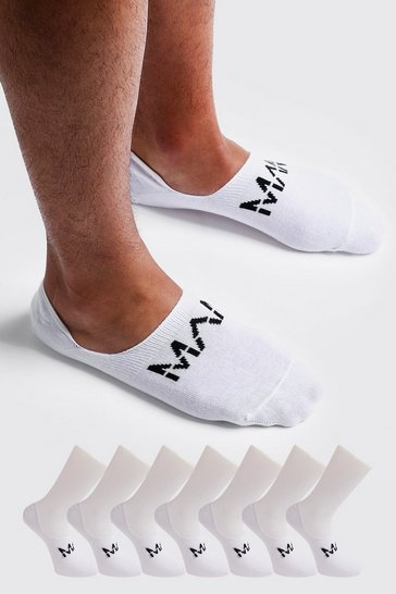 White MAN Dash Invisible 7 Pack Socks
