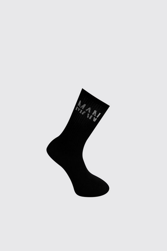 Mens Black MAN Dash 1 Pack Sport Socks