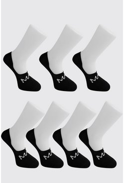 Black MAN Dash Invisible 7 Pack Socks
