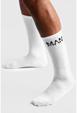 Mens White MAN Dash 1 Pack Sport Socks