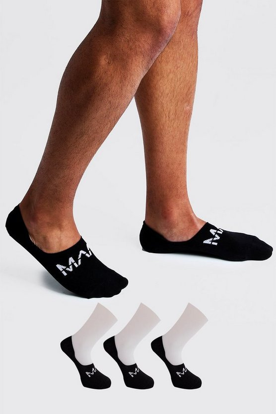 Black MAN Dash 3 Pack Invisible Socks