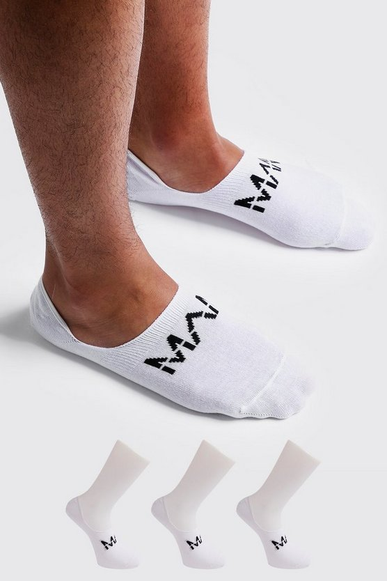White MAN Dash 3 Pack Invisible Socks
