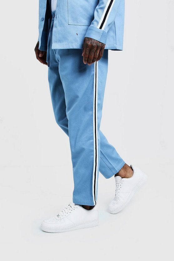 Mens Dusty blue Jogger Chino With Side Tape