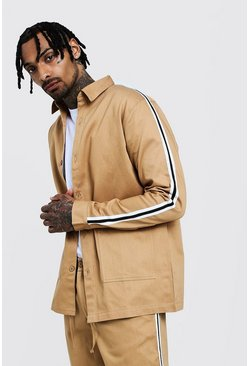 Mens Stone Cotton Shacket With Tape Detail
