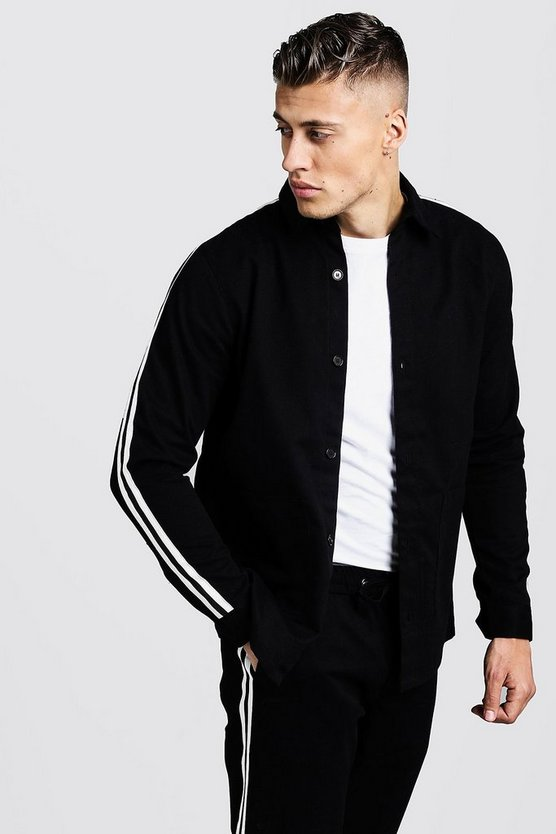 Mens Black Cotton Shacket With Tape Detail