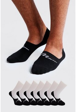 Black MAN Signature 3 Pack Invisible Sock