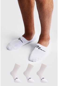 White MAN Signature 3 Pack Invisible Sock
