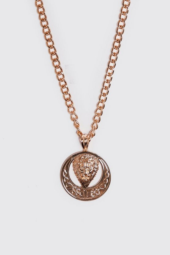 Mens Gold Lion Pendant Chain Necklace