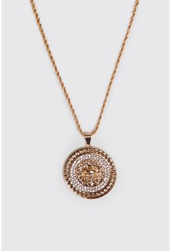 Jewel Coin Pendant Necklace, Gold, HOMMES