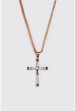 Mens Gold Jewelled Cross Chain Pendant