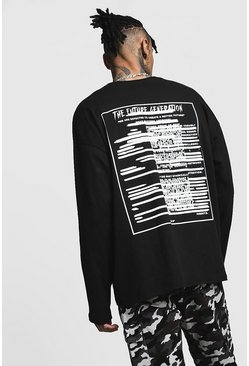 Mens Black Printed Future Generation Oversized Long Sleeve Tee