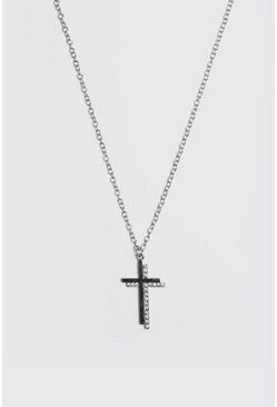 Mens Silver Jewelled Cross Pendant Necklace
