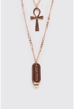 Mens Gold Double Layer Pendant Necklace