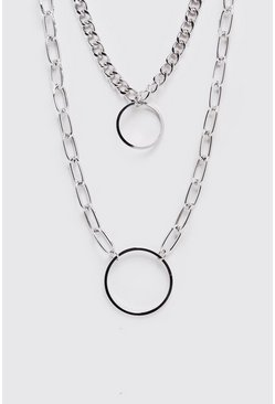 Double Chain Pendant Necklace, Silver, HOMBRE