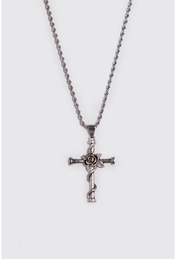 Herr Silver Rose & Cross Necklace