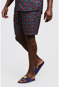 Big & Tall Tribal Print Short, Purple, HOMBRE