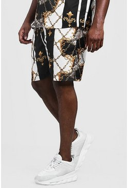 Mens Black Big & Tall Baroque Chain Print Short