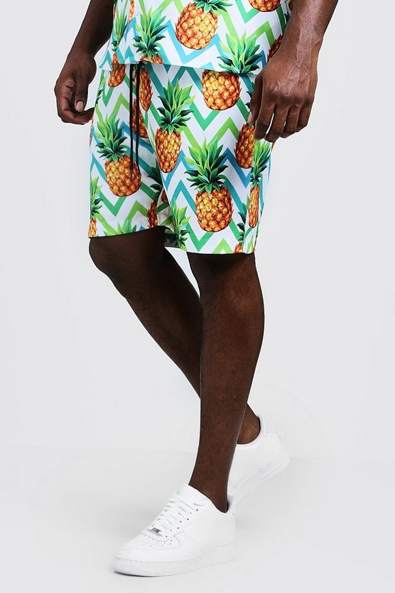 Mens Multi Big & Tall Pineapple Print Short