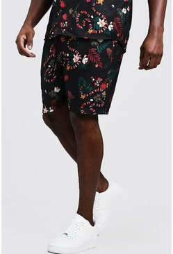 Mens Black Big & Tall Snake Print Short