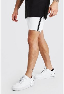 Slim Fit Tape Detail Denim Shorts With Raw Hem, White, Uomo