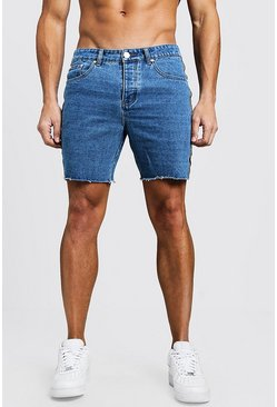Mens Mid blue Slim Fit Tape Detail Denim Shorts With Raw Hem
