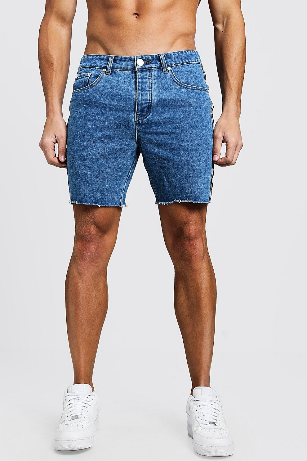 e1fe9f9615 Slim Fit Tape Detail Denim Shorts With Raw Hem | Boohoo
