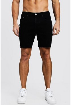 Slim Fit Tape Detail Denim Shorts With Raw Hem, Black, Uomo