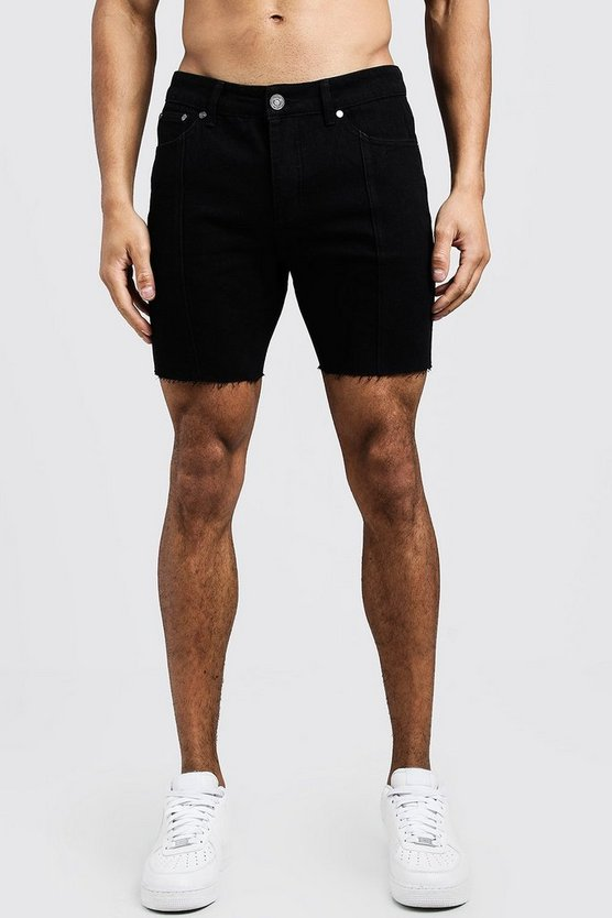 Slim Fit Seam Detail Raw Hem Denim Shorts, Washed black, Uomo