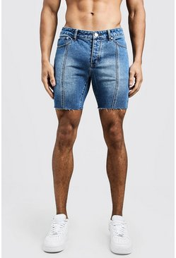 Slim Fit Seam Detail Raw Hem Denim Shorts, Blue, HOMBRE