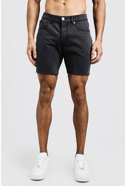 Slim Fit Denim Shorts With Raw Hem, Charcoal, HOMBRE