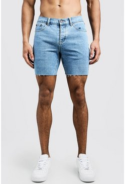 Slim Fit Denim Shorts With Raw Hem, Vintage wash, Uomo