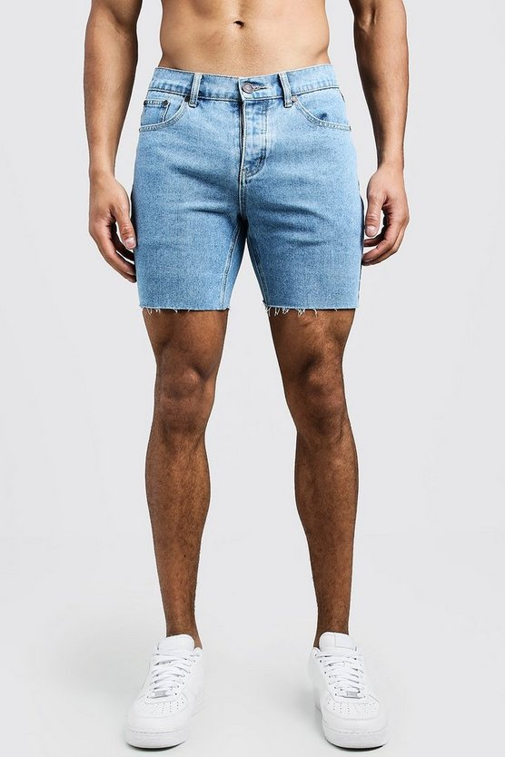Mens Vintage wash Slim Fit Denim Shorts With Raw Hem