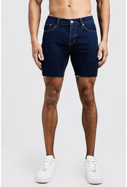 Slim Fit Denim Shorts With Raw Hem, Indigo, HOMBRE