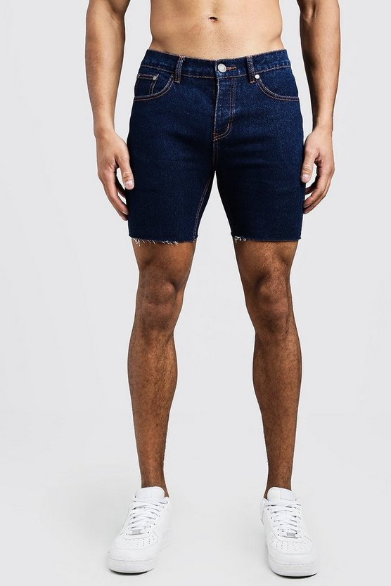 Herr Indigo Slim Fit Denim Shorts With Raw Hem