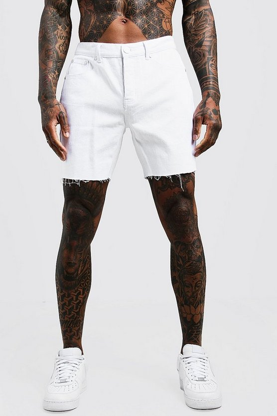 White Slim Fit Denim Shorts With Raw Hem