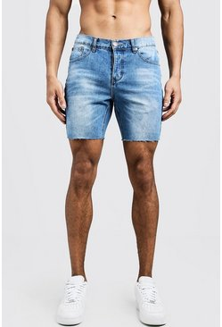 Slim Fit Denim Shorts With Raw Hem, Blue, HOMBRE