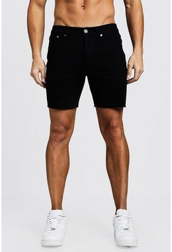 Mens Black Slim Fit Denim Shorts With Raw Hem