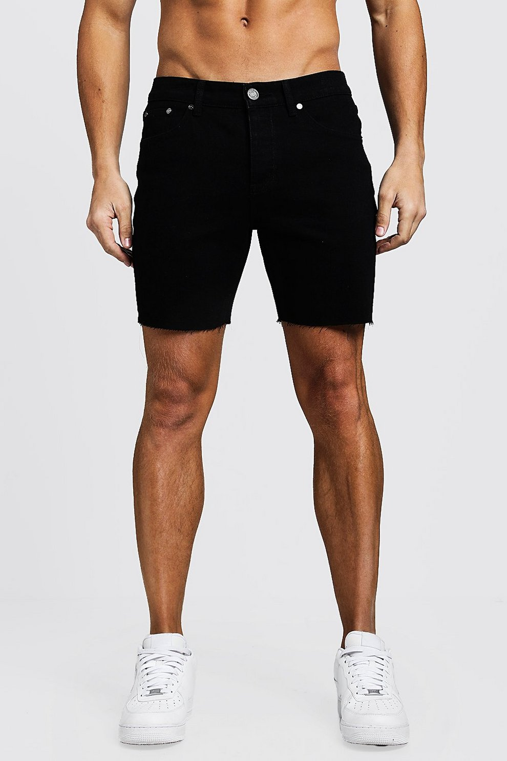 bc2712466c35 Slim Fit Denim Shorts With Raw Hem | Boohoo