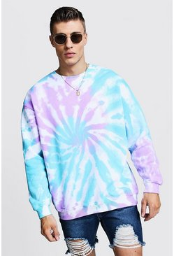 Oversized-Sweatshirt in Batik-Optik, Rosa, Herren